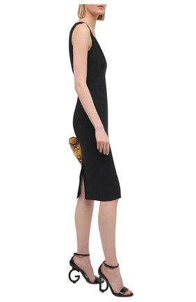 Женские кожаные босоножки keira DOLCE & GABBANA черного цвета, арт. CR1086/A1471 | Фото 2 (Подошва: Плоская; Материал внутренний: Натуральная кожа; Каблук высота: Высокий; Каблук тип: Фигурный)