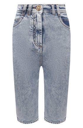 Женские джинсовые шорты BALMAIN голубого цвета, арт. VF15425/D097 | Фото 1 (Материал внешний: Хлопок, Деним; Женское Кросс-КТ: Шорты-одежда; Кросс-КТ: Деним; Стили: Гранж; Длина Ж (юбки, платья, шорты): До колена)