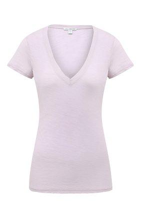 Женская хлопковая футболка JAMES PERSE розового цвета, арт. WUA3695 | Фото 1