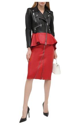 Женская кожаная юбка ALEXANDER MCQUEEN красного цвета, арт. 650219/Q5AB5 | Фото 2