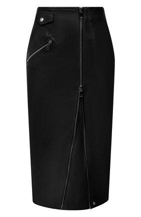 Женская кожаная юбка ALEXANDER MCQUEEN черного цвета, арт. 650219/Q5AB5 | Фото 1