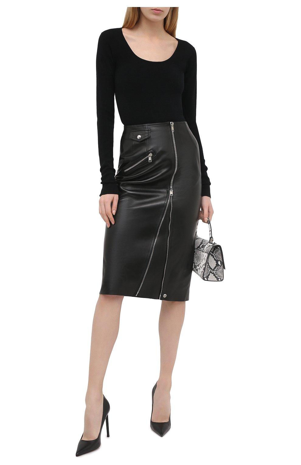 Женская кожаная юбка ALEXANDER MCQUEEN черного цвета, арт. 650219/Q5AB5 | Фото 2