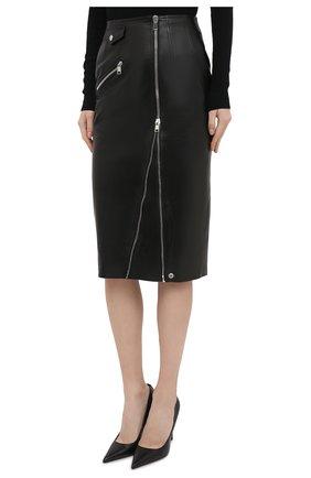 Женская кожаная юбка ALEXANDER MCQUEEN черного цвета, арт. 650219/Q5AB5 | Фото 3