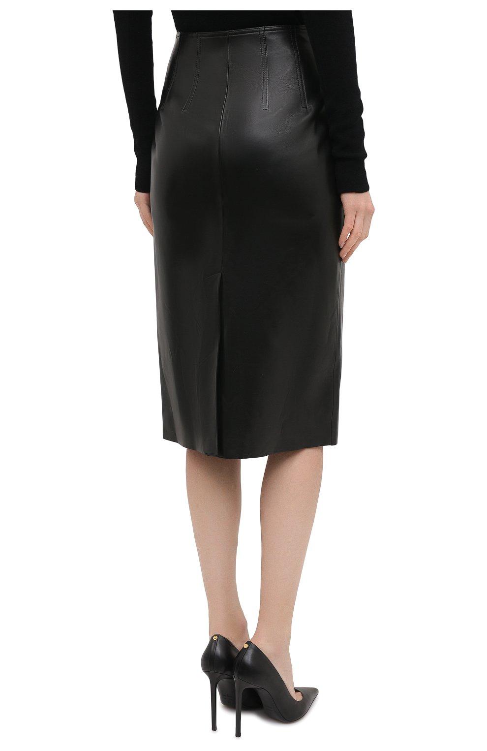 Женская кожаная юбка ALEXANDER MCQUEEN черного цвета, арт. 650219/Q5AB5 | Фото 4