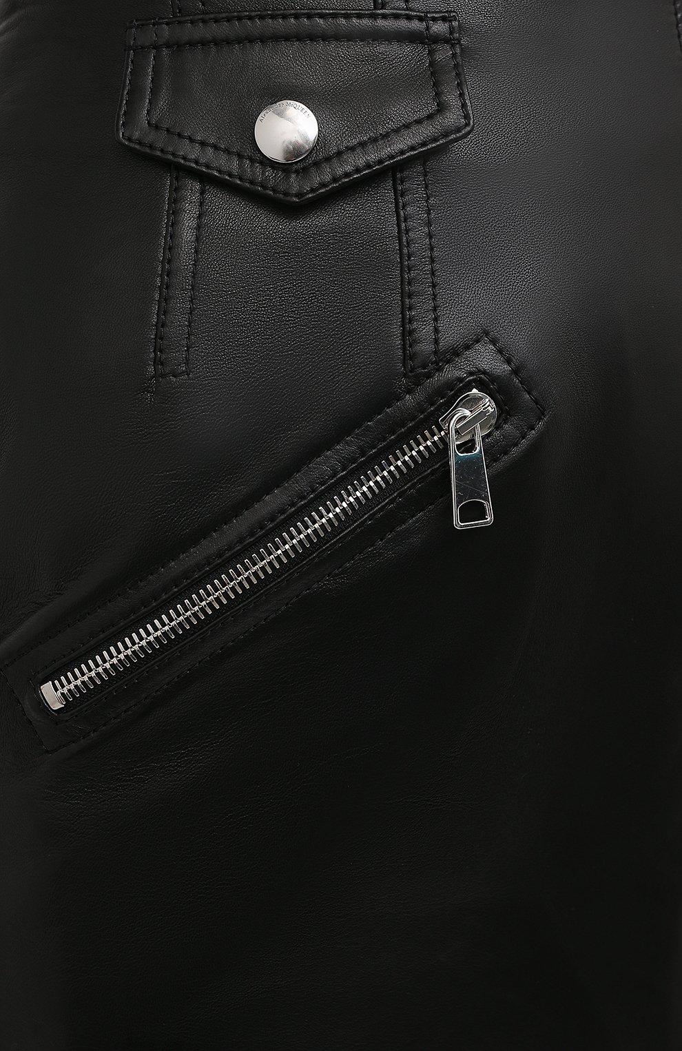 Женская кожаная юбка ALEXANDER MCQUEEN черного цвета, арт. 650219/Q5AB5 | Фото 5