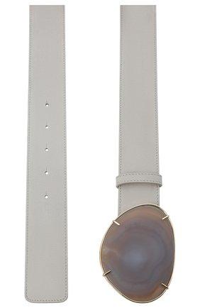Женский кожаный ремень GIORGIO ARMANI светло-серого цвета, арт. Y1I248/YTS3A | Фото 2 (Материал: Кожа)