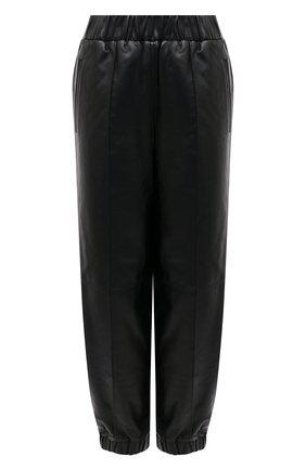 Женские кожаные брюки GANNI черного цвета, арт. F5576   Фото 1