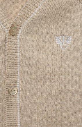 Детский хлопковый кардиган TARTINE ET CHOCOLAT бежевого цвета, арт. TS18131/18M-3A | Фото 3 (Рукава: Длинные; Материал внешний: Хлопок; Ростовка одежда: 18 мес | 86 см, 24 мес | 92 см, 36 мес | 98 см)
