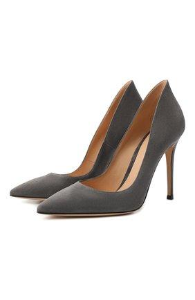Женские замшевые туфли ellipsis GIANVITO ROSSI серого цвета, арт. G20730.15RIC.CAMLAPI | Фото 1