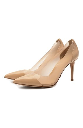 Женские комбинированные туфли plexi 85 GIANVITO ROSSI бежевого цвета, арт. G20938.85RIC.VGLNUNU   Фото 1