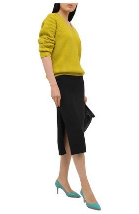 Женские кожаные туфли gianvito 70 GIANVITO ROSSI бирюзового цвета, арт. G26770.70RIC.VITMALE | Фото 2