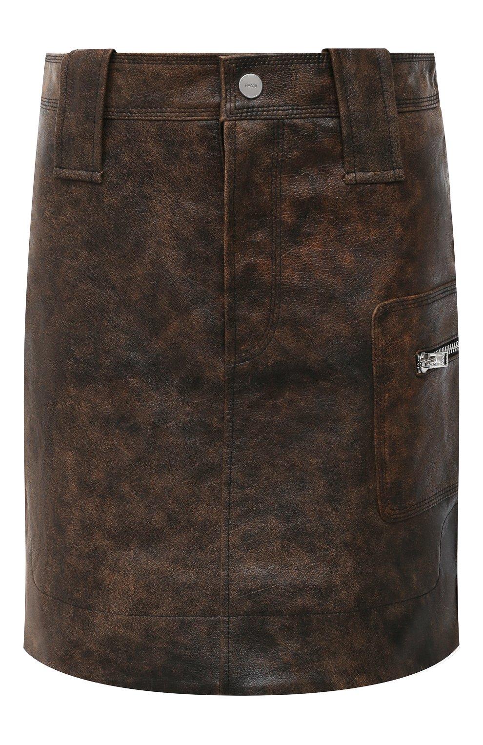 Женская кожаная юбка GANNI коричневого цвета, арт. F5612   Фото 1