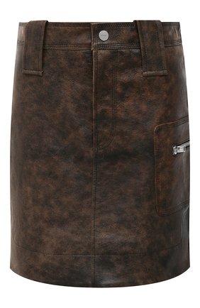 Женская кожаная юбка GANNI коричневого цвета, арт. F5612 | Фото 1