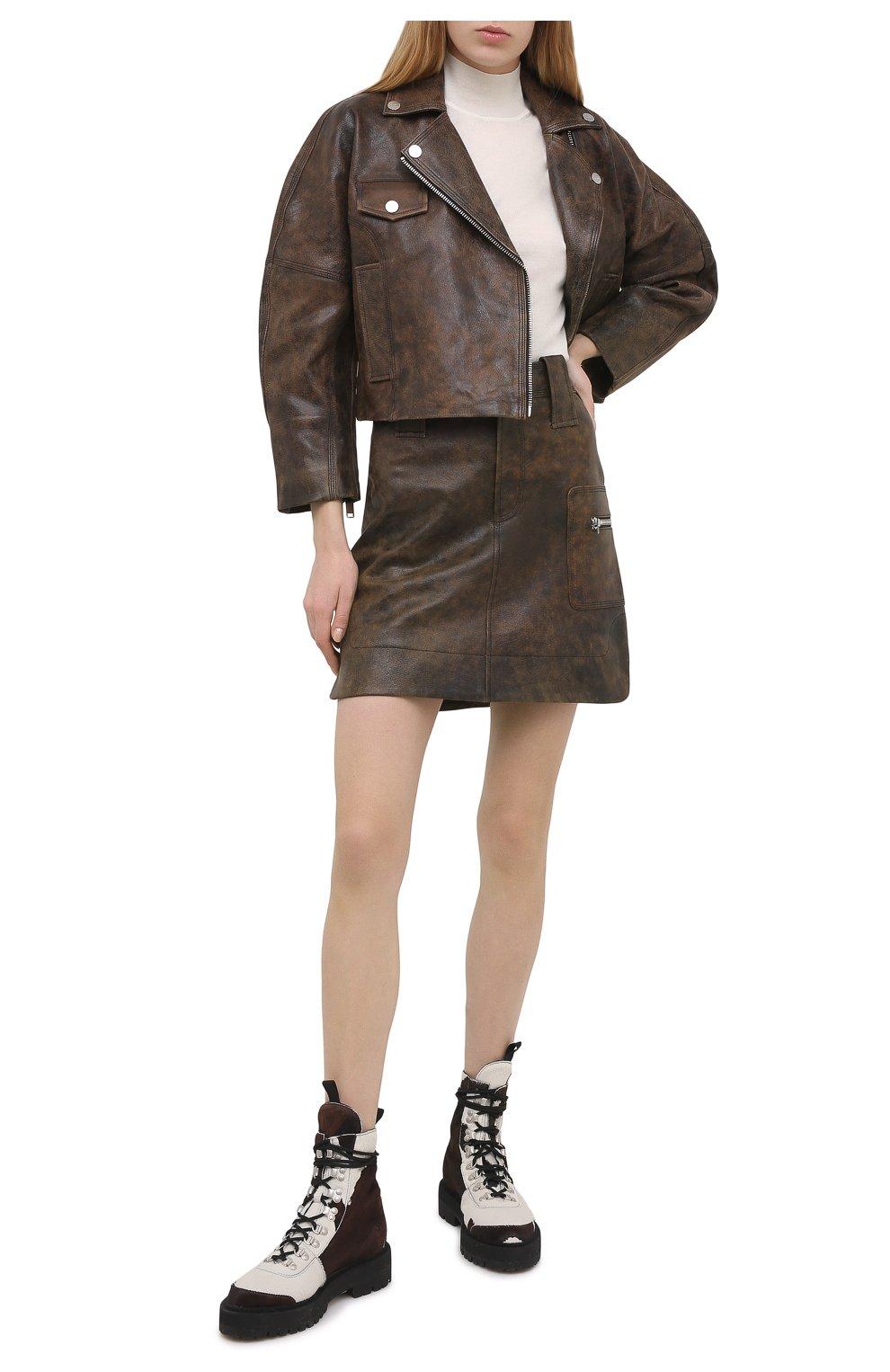Женская кожаная юбка GANNI коричневого цвета, арт. F5612   Фото 2