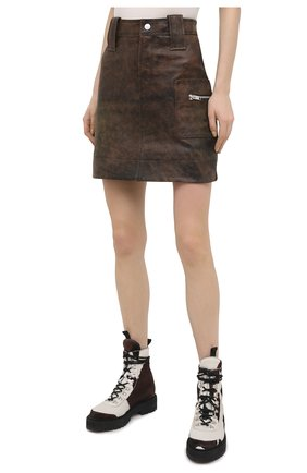 Женская кожаная юбка GANNI коричневого цвета, арт. F5612   Фото 3