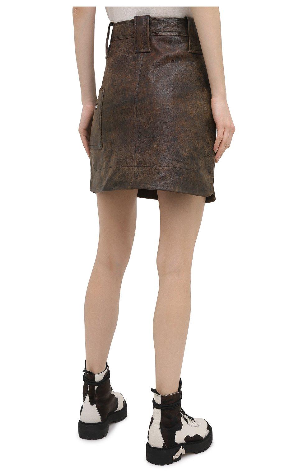 Женская кожаная юбка GANNI коричневого цвета, арт. F5612   Фото 4