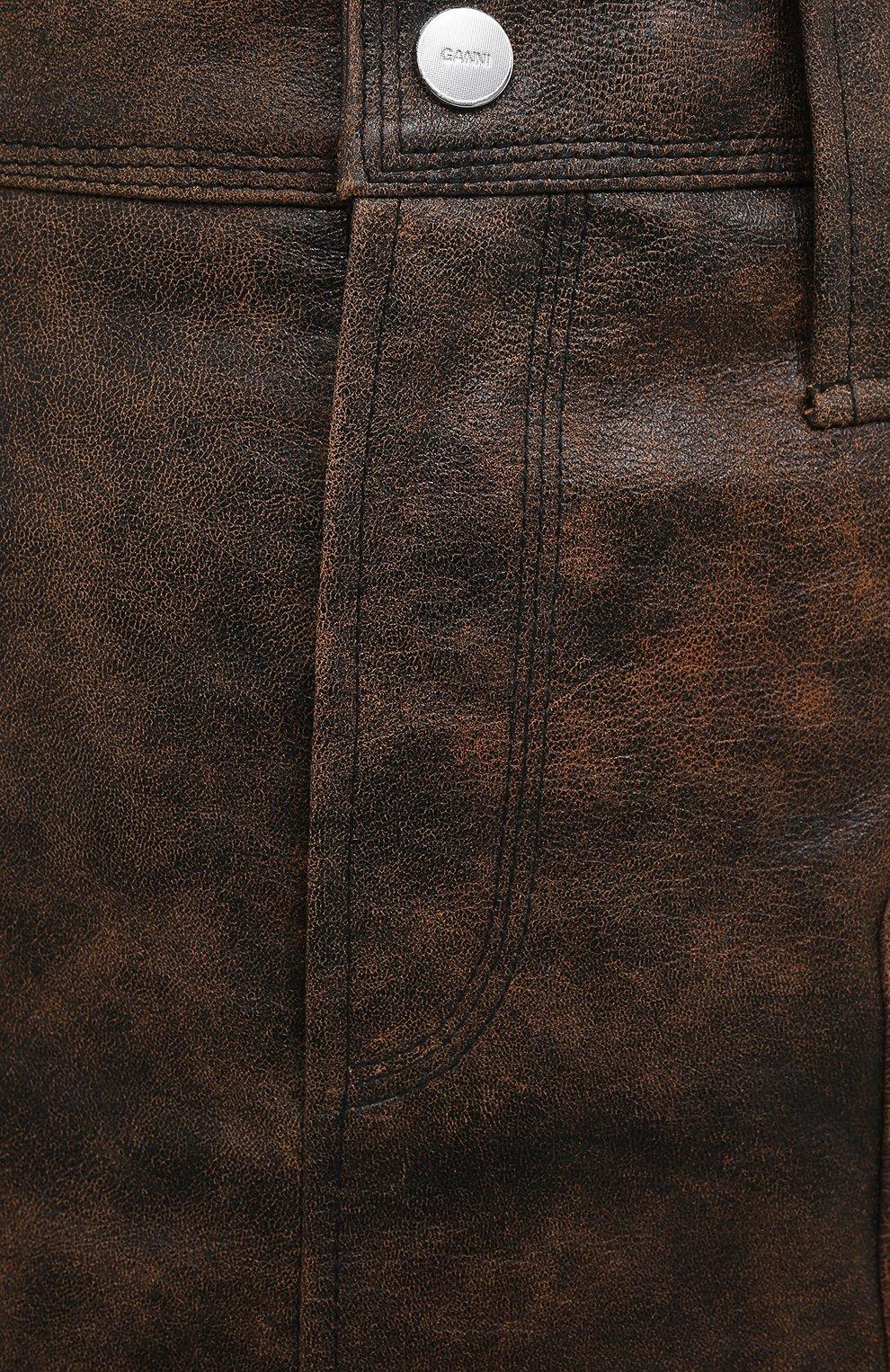 Женская кожаная юбка GANNI коричневого цвета, арт. F5612   Фото 5