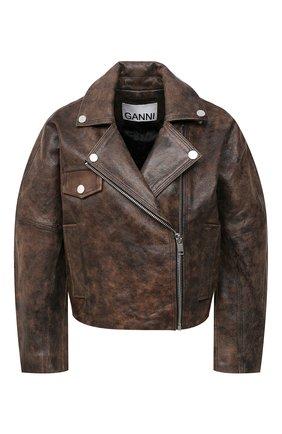 Женская кожаная куртка GANNI коричневого цвета, арт. F5611 | Фото 1