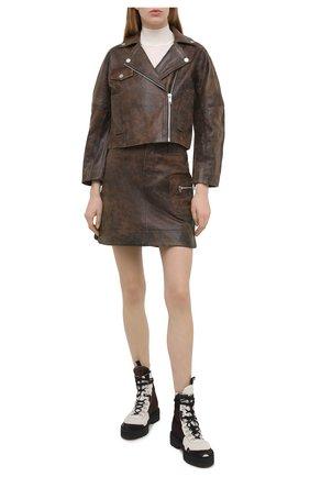 Женская кожаная куртка GANNI коричневого цвета, арт. F5611 | Фото 2