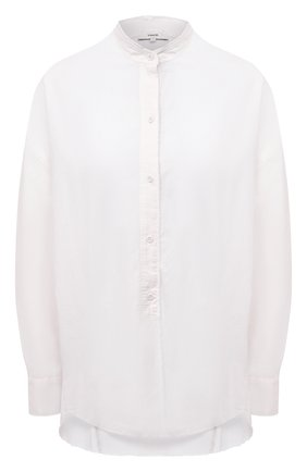 Женская рубашка из хлопка и шелка VINCE белого цвета, арт. VR74711972 | Фото 1