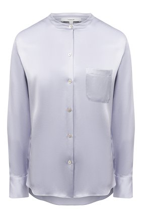 Женская шелковая блузка VINCE голубого цвета, арт. V718012244 | Фото 1 (Материал внешний: Шелк; Принт: Без принта; Длина (для топов): Стандартные; Стили: Романтичный; Рукава: Длинные; Женское Кросс-КТ: Блуза-одежда)