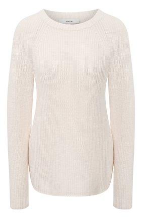 Женский свитер из хлопка и кашемира VINCE белого цвета, арт. V716578676 | Фото 1
