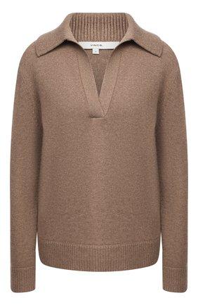 Женский свитер из шерсти и кашемира VINCE коричневого цвета, арт. V715978666 | Фото 1