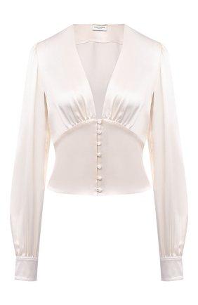 Женская шелковая блузка SAINT LAURENT светло-бежевого цвета, арт. 646017/Y001W | Фото 1 (Стили: Романтичный; Принт: Без принта; Рукава: Длинные; Длина (для топов): Стандартные; Женское Кросс-КТ: Блуза-одежда; Материал внешний: Шелк)