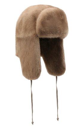 Мужская норковая шапка-ушанка KUSSENKOVV светло-коричневого цвета, арт. 321900033247 | Фото 1