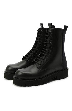 Мужские кожаные ботинки VALENTINO черного цвета, арт. VY2S0E07/TRW | Фото 1 (Мужское Кросс-КТ: Ботинки-обувь; Подошва: Массивная; Материал внутренний: Натуральная кожа)