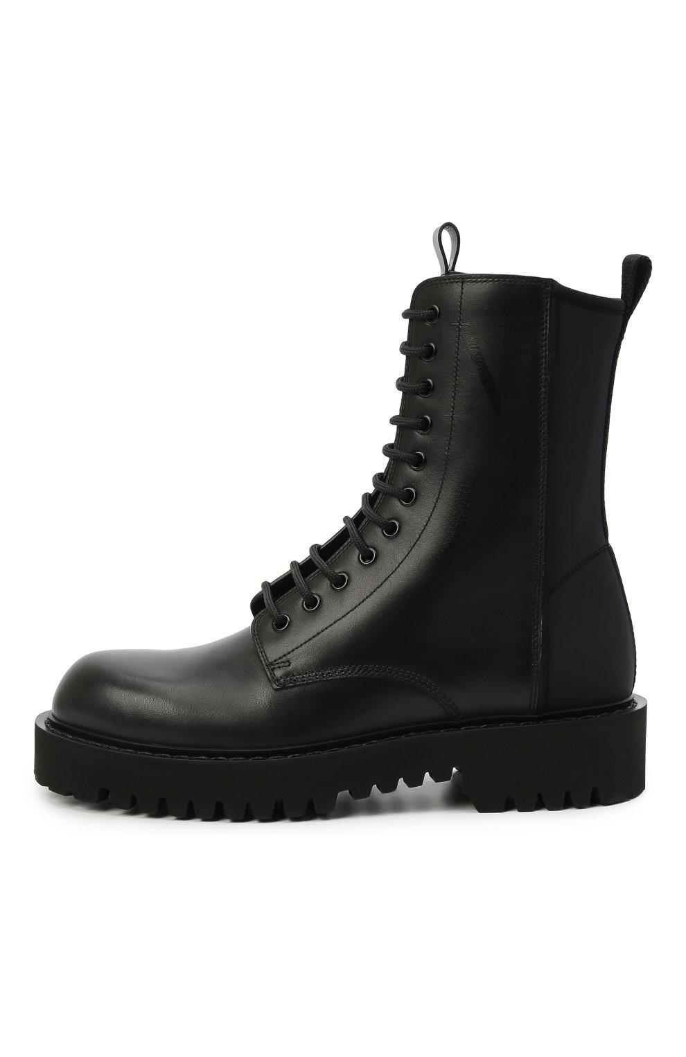 Мужские кожаные ботинки VALENTINO черного цвета, арт. VY2S0E07/TRW   Фото 3 (Мужское Кросс-КТ: Ботинки-обувь; Материал внутренний: Натуральная кожа; Подошва: Массивная)