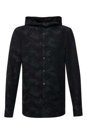 Мужская рубашка из хлопка и льна KITON черного цвета, арт. UMCMARH0763401 | Фото 1