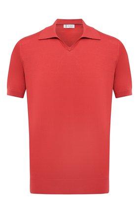 Мужское хлопковое поло BRUNELLO CUCINELLI красного цвета, арт. M29800145 | Фото 1