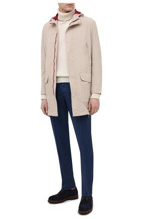 Мужские хлопковые брюки BRUNELLO CUCINELLI синего цвета, арт. M289LB1770 | Фото 2 (Случай: Повседневный; Длина (брюки, джинсы): Стандартные; Материал внешний: Хлопок; Стили: Кэжуэл)