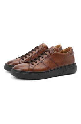 Мужские кожаные кеды ANTONIO MAURIZI коричневого цвета, арт. 1053/T0DI | Фото 1