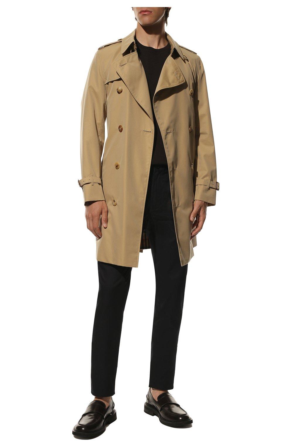 Мужские хлопковые брюки BURBERRY темно-синего цвета, арт. 8017627 | Фото 2 (Длина (брюки, джинсы): Стандартные; Случай: Повседневный; Материал внешний: Хлопок; Стили: Кэжуэл)