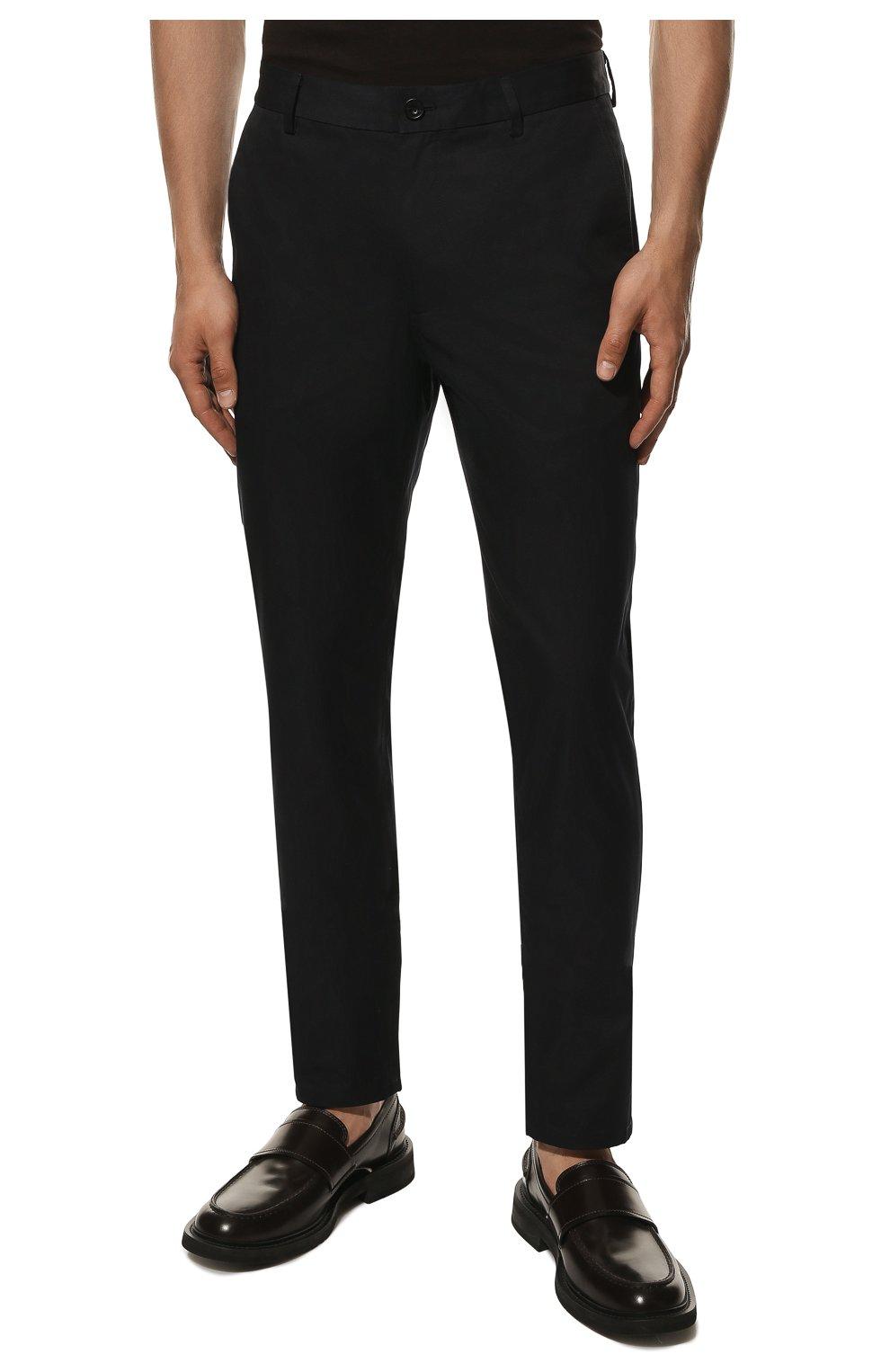 Мужские хлопковые брюки BURBERRY темно-синего цвета, арт. 8017627 | Фото 3 (Длина (брюки, джинсы): Стандартные; Случай: Повседневный; Материал внешний: Хлопок; Стили: Кэжуэл)