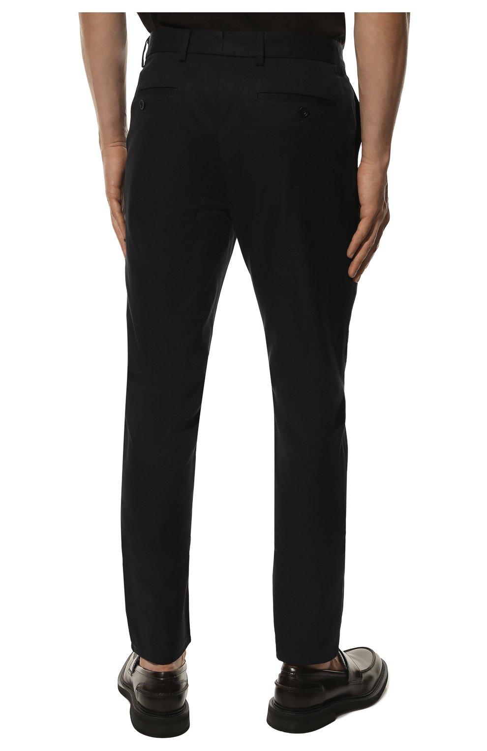 Мужские хлопковые брюки BURBERRY темно-синего цвета, арт. 8017627 | Фото 4 (Длина (брюки, джинсы): Стандартные; Случай: Повседневный; Материал внешний: Хлопок; Стили: Кэжуэл)