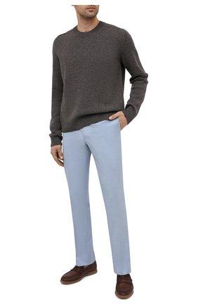 Мужские шерстяные брюки BRIONI голубого цвета, арт. RPL80L/P9AA4/MEGEVE   Фото 2