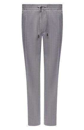 Мужские шерстяные брюки BRIONI серого цвета, арт. RPM20L/P0A9I/NEW SIDNEY | Фото 1 (Big sizes: Big Sizes; Случай: Повседневный; Стили: Кэжуэл; Длина (брюки, джинсы): Стандартные; Материал внешний: Шерсть)