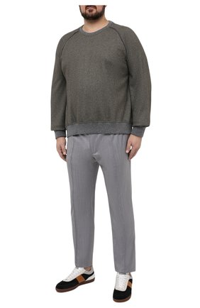 Мужские шерстяные брюки BRIONI серого цвета, арт. RPM20L/P0A9I/NEW SIDNEY | Фото 2 (Big sizes: Big Sizes; Случай: Повседневный; Стили: Кэжуэл; Длина (брюки, джинсы): Стандартные; Материал внешний: Шерсть)