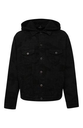 Мужская джинсовая куртка VALENTINO черного цвета, арт. VV3DC01U724   Фото 1