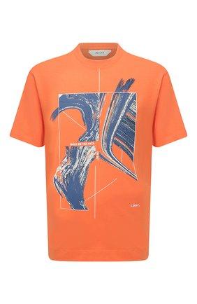 Мужская хлопковая футболка Z ZEGNA оранжевого цвета, арт. VW362/ZZ649G | Фото 1 (Рукава: Короткие; Длина (для топов): Стандартные; Материал внешний: Хлопок; Принт: С принтом; Стили: Кэжуэл)
