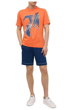 Мужская хлопковая футболка Z ZEGNA оранжевого цвета, арт. VW362/ZZ649G | Фото 2 (Рукава: Короткие; Длина (для топов): Стандартные; Материал внешний: Хлопок; Принт: С принтом; Стили: Кэжуэл)