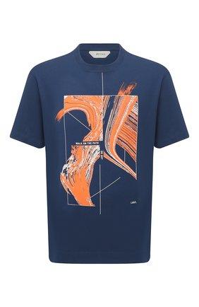 Мужская хлопковая футболка Z ZEGNA синего цвета, арт. VW362/ZZ649G | Фото 1 (Длина (для топов): Стандартные; Рукава: Короткие; Принт: С принтом; Материал внешний: Хлопок; Стили: Кэжуэл)