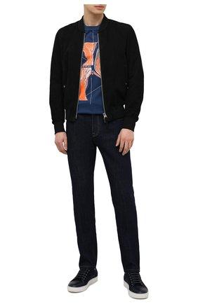Мужская хлопковая футболка Z ZEGNA синего цвета, арт. VW362/ZZ649G | Фото 2 (Длина (для топов): Стандартные; Рукава: Короткие; Принт: С принтом; Материал внешний: Хлопок; Стили: Кэжуэл)