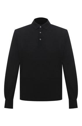 Мужское поло из хлопка и шелка ERMENEGILDO ZEGNA черного цвета, арт. UW399/850 | Фото 1