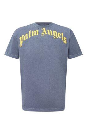 Мужская хлопковая футболка PALM ANGELS темно-синего цвета, арт. PMAA001R21JER0084618 | Фото 1
