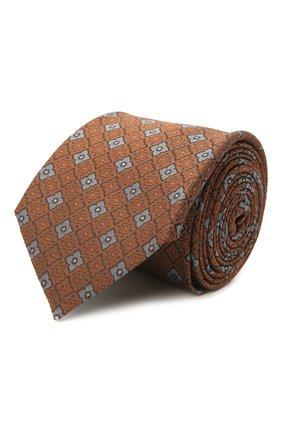 Мужской шелковый галстук CANALI коричневого цвета, арт. 18/HJ03084   Фото 1 (Материал: Текстиль, Шелк; Принт: С принтом)