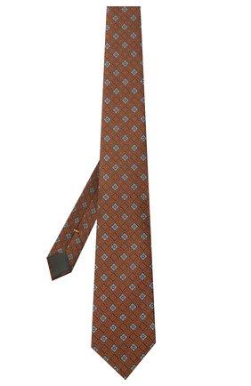 Мужской шелковый галстук CANALI коричневого цвета, арт. 18/HJ03084   Фото 2 (Материал: Текстиль, Шелк; Принт: С принтом)